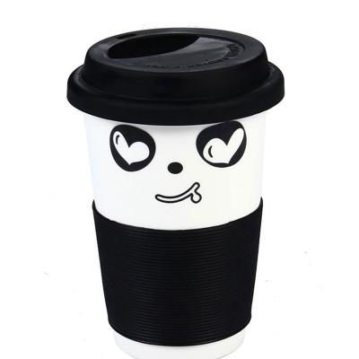 郑品 创意陶瓷水杯 可爱功夫熊猫杯子 茶具茶杯 特价茶杯 防烫杯