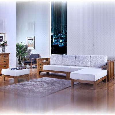 华谊家具 实木橡木布艺贵妃沙发