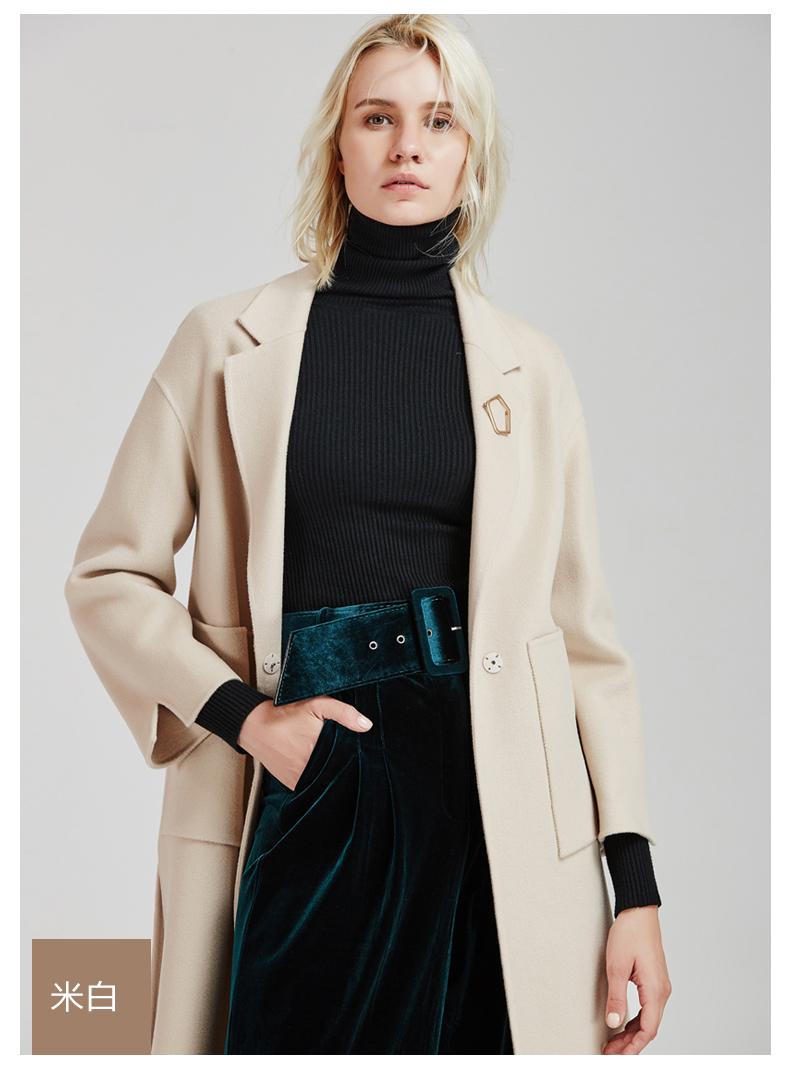 南极人冬季女装大衣直身型侧开叉时尚纯手工双面绒大衣长款时尚外套(JDR17-53)N103产地