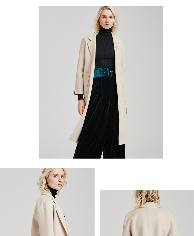 南极人冬季女装大衣直身型侧开叉时尚纯手工双面绒大衣长款时尚外套(JDR17-53)N103好不好