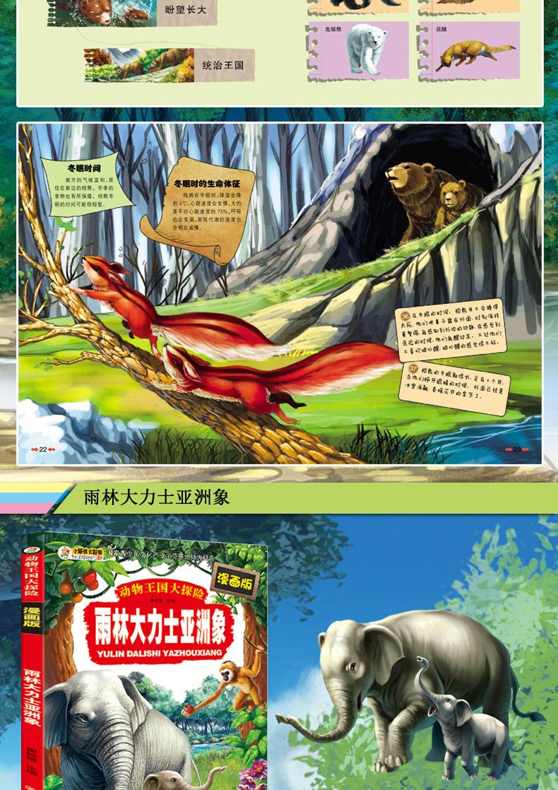 雨林大力士亚洲象/动物王国大探险等7册幼儿儿童科普认知启蒙漫画大