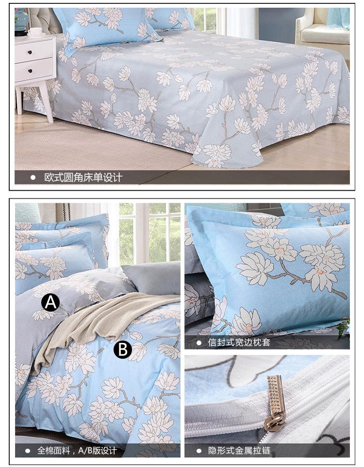 贝得赫新款纯棉印花四件套 简约欧式床单式床上用品四