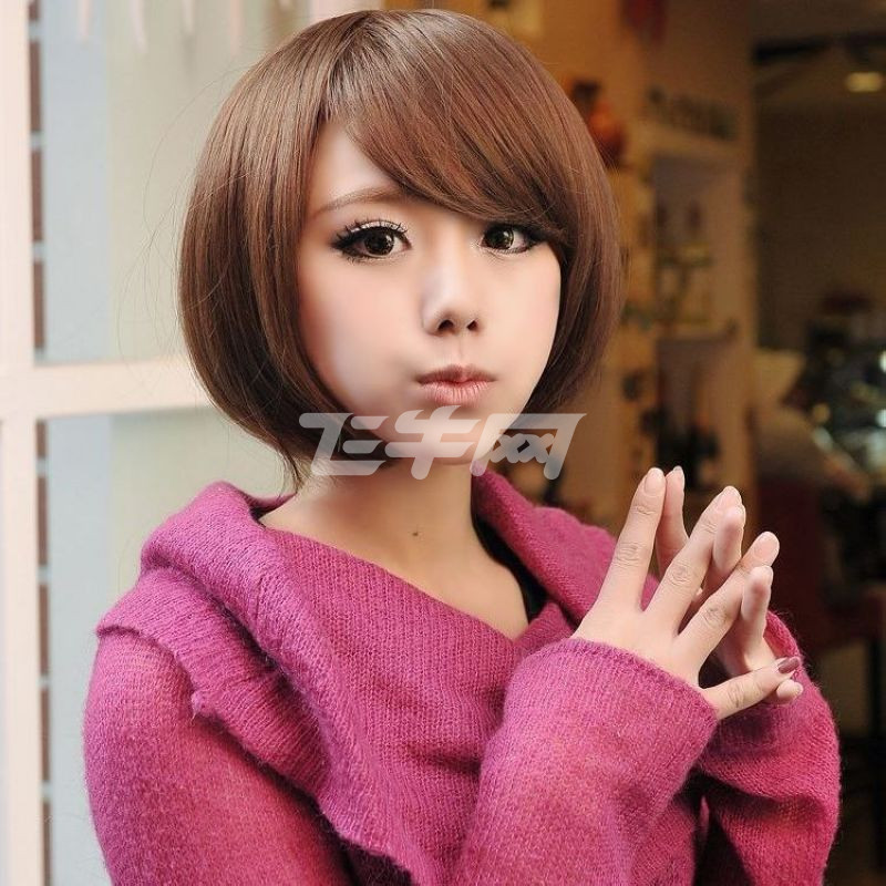 小苏妞假发 假发 短发 女 时尚帅气蘑菇头短发斜刘海蓬松沙宣发型设计图片