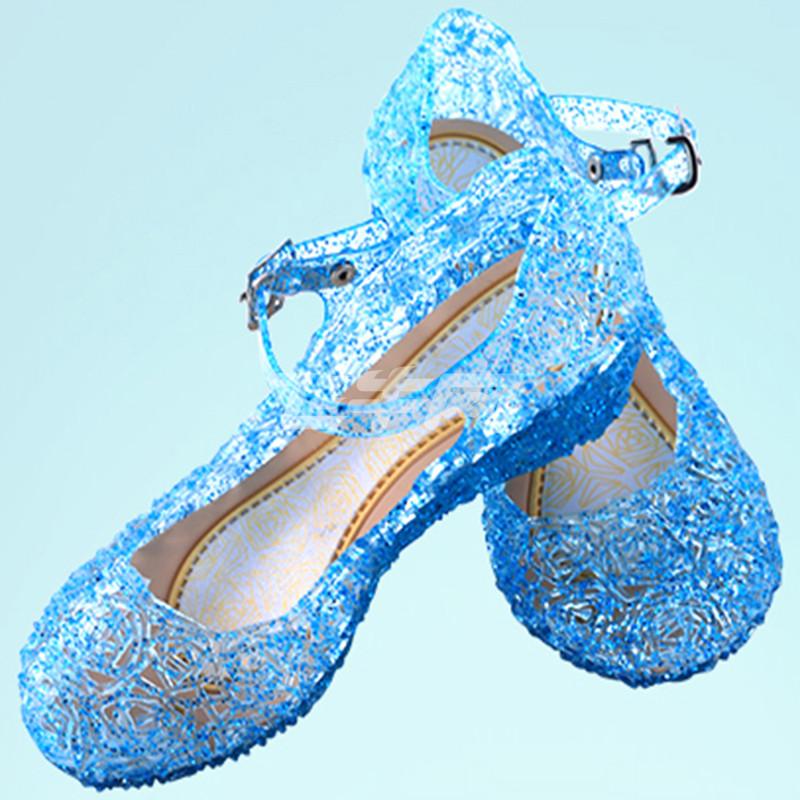 冰雪奇缘女童洞洞凉鞋灰姑娘水晶鞋夏季儿童高跟鞋子迪士尼公主鞋a115