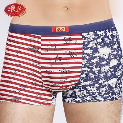 2条装浪莎男士内裤高档纯棉舒适印花平角裤透气三角裤头价格
