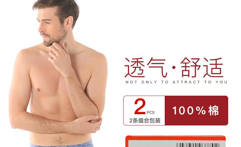 2条装浪莎男士内裤高档纯棉舒适印花平角裤透气三角裤头图片