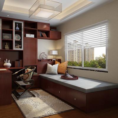 中式风格客厅入户柜书柜电脑桌