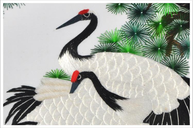 太阳仙鹤双面锈苏绣品苏州刺绣出国外事礼品日本人喜爱礼物小摆件