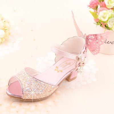 西原美女童凉鞋12岁儿童高跟鞋公主鱼嘴水晶鞋小女孩粉色表演凉鞋B