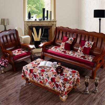 萝芙森 红实木沙发垫坐垫布艺 加厚沙发垫 不带靠背