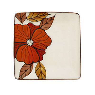 瓷彩美 手绘陶瓷盘子 个性西餐盘 创意餐盘 复古平盘挂盘 时尚
