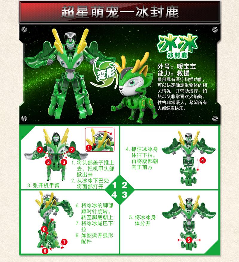 GGBOND之超星萌宠阿五铁拳虎小圣神木猿等变形玩具机器人2合体