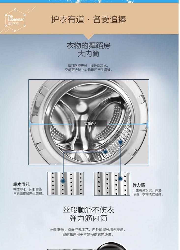 海尔滚筒洗衣机 eg7012b29w 7公斤变频滚筒 德系bldc无刷变频电机