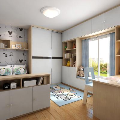 现代简约风格隔断柜木质推拉门书柜电脑桌整体儿童房组合 全屋定制