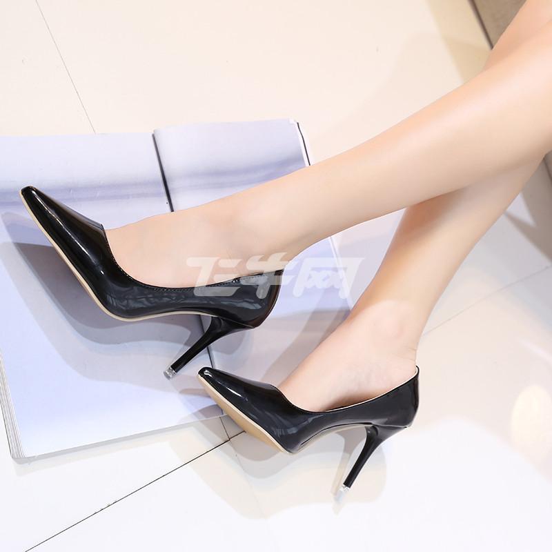 欧美尖头高跟鞋女秋细跟浅口性感婚鞋白色漆皮气质工作鞋小码单鞋杨幂