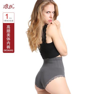 浪莎高腰产后收腹内裤女士三角裤春夏高腰塑身提臀燃脂收腹性感蕾丝短裤衩N1608价格