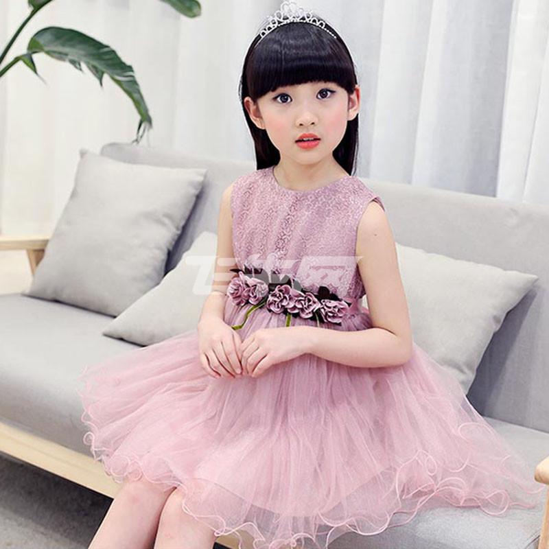 西原美童装女童夏装连衣裙2017夏季新款公主裙5-7-9-11岁小女孩儿童