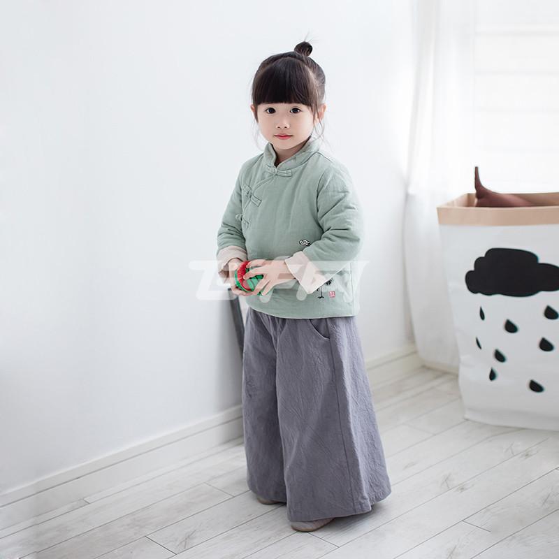 佳米聪童装 秋冬新品 仙鹤印花六粒扣汉服丝绵棉袄外套