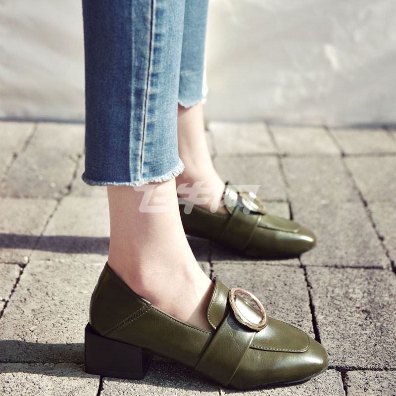 cng女鞋夏季新款欧美复古两穿乐福鞋金属圆环扣一脚蹬