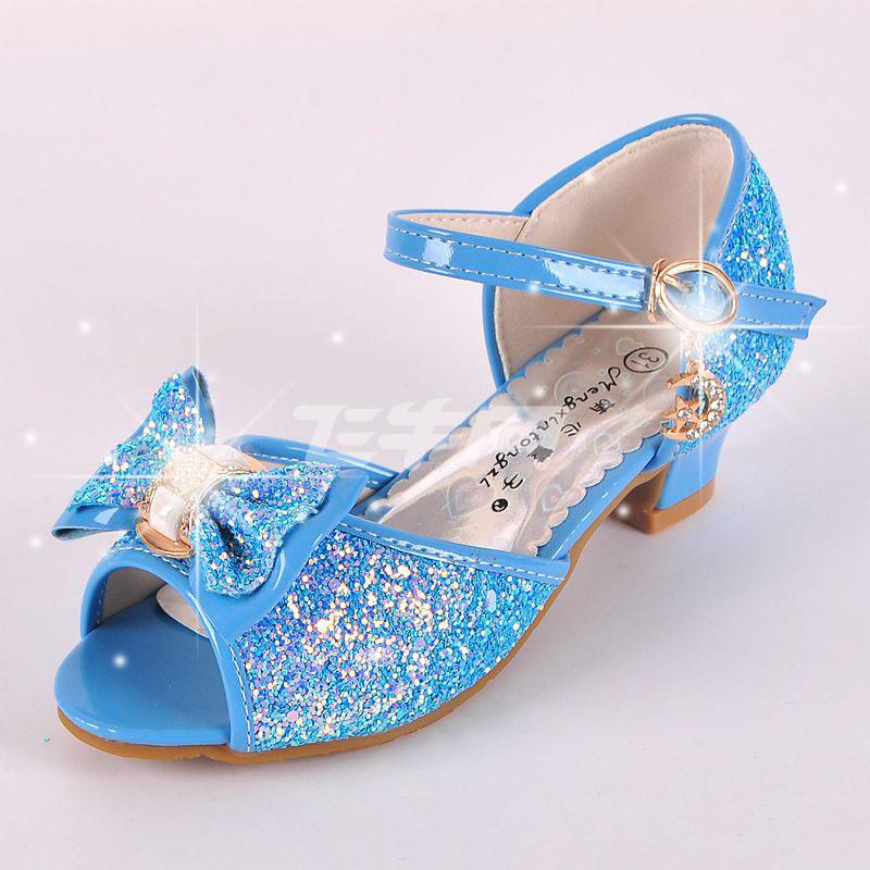 小猪彼特灰姑娘水晶鞋儿童夏季女童公主凉鞋小女孩高跟童鞋表演皮鞋