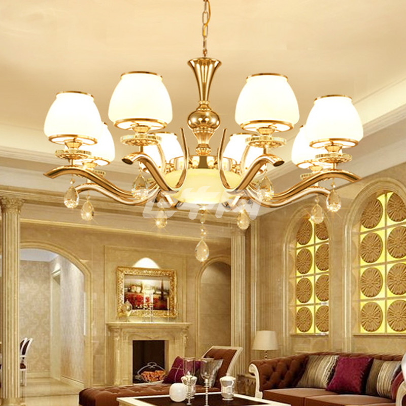 美吉特 现代简约欧式金色水晶吊灯客厅房间卧室餐厅房间吸顶灯 玻璃漂