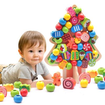 可爱布丁 儿童益智积木玩具 多功能大绕珠木制穿线串珠玩具 糖果树串
