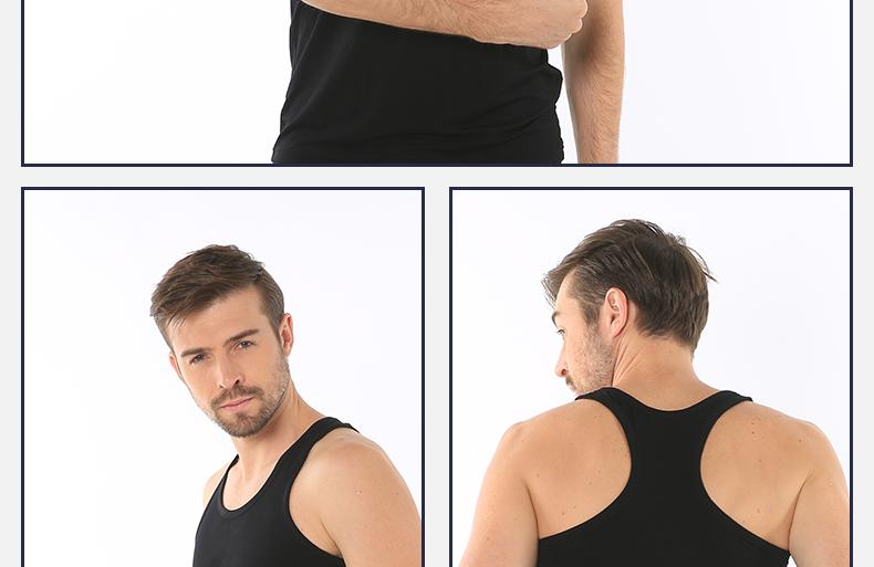 浪莎夏季纯色男士T恤木纤维短袖休闲工字背心舒适亲肤薄款打底衫热卖