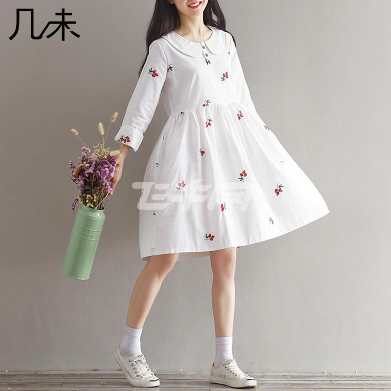 棉布裙中长款秋