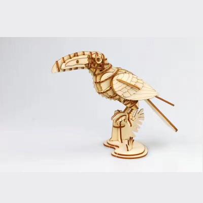 若态动物3d立体木质拼图 - 鹦鹉