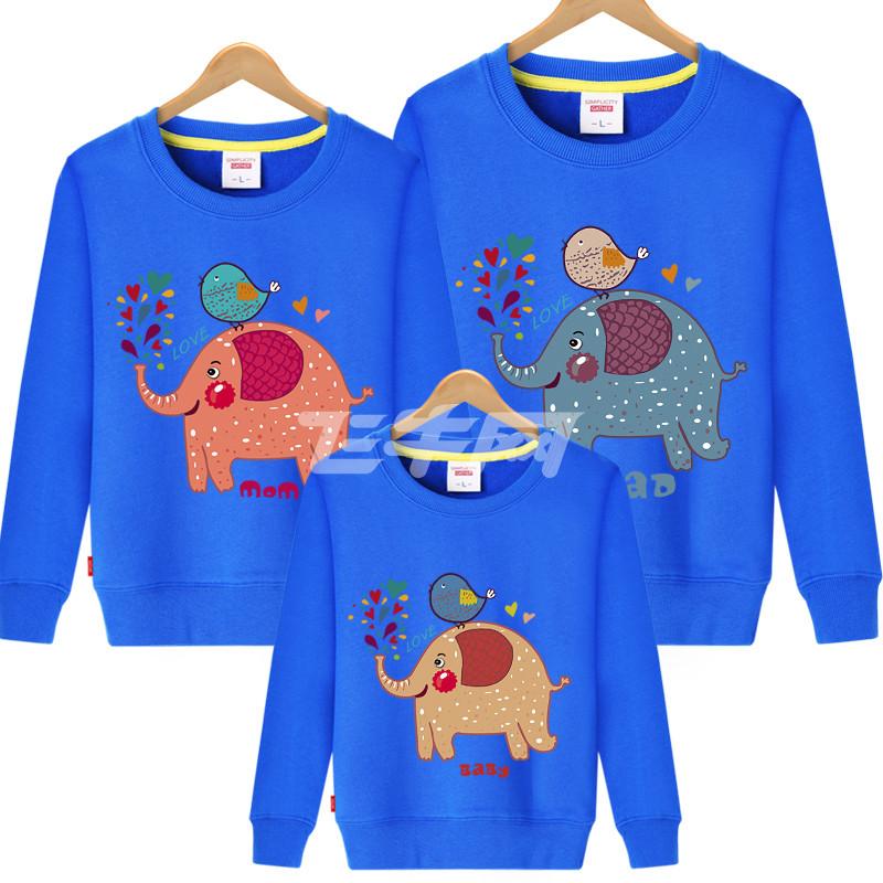 西原美亲子装卫衣春装2017新品长袖卡通图案外套全家装一家三口母女
