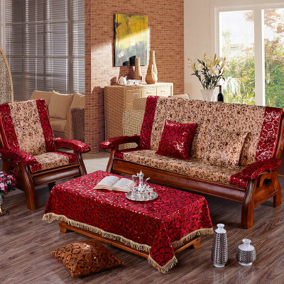 实木沙发垫 烫金加厚防滑慢回弹红木沙发垫