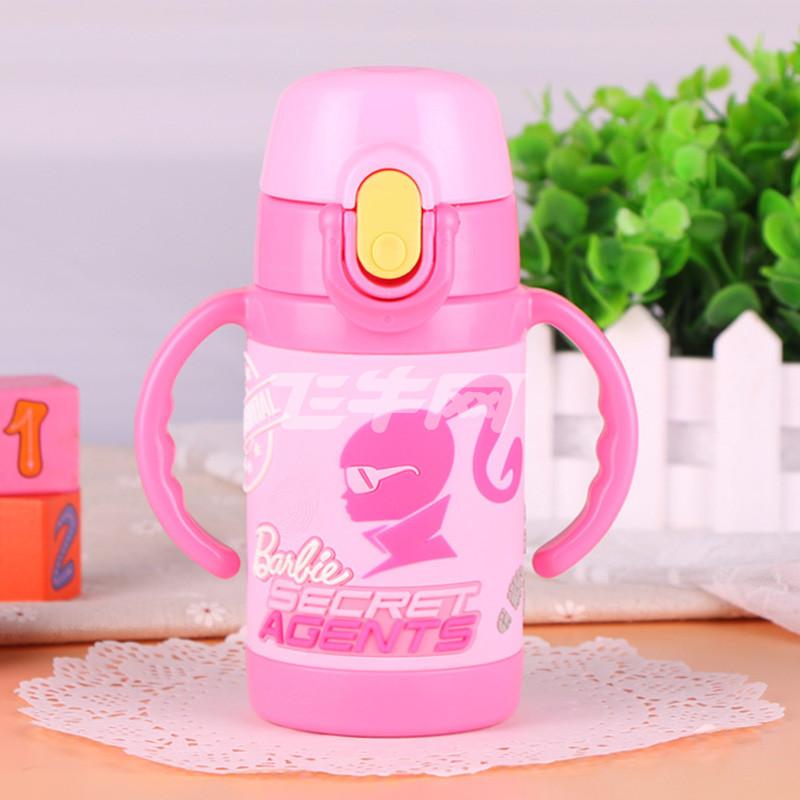 芭比女童保温吸管杯可爱宝宝带吸管杯子小孩手柄防摔水壶防漏水瓶