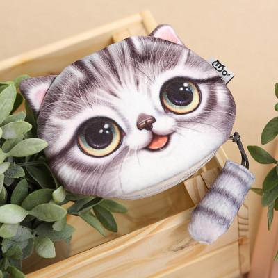 春之北纬 3d印花创意可爱喵星人包包 猫头毛绒零钱包 小尾巴猫钱包
