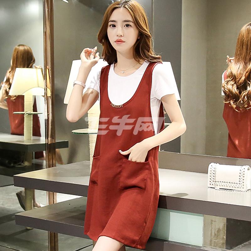 韩衣兜棉麻背带裙两件套宽松大码夏季亚麻料套装连衣裙中长款国301图片