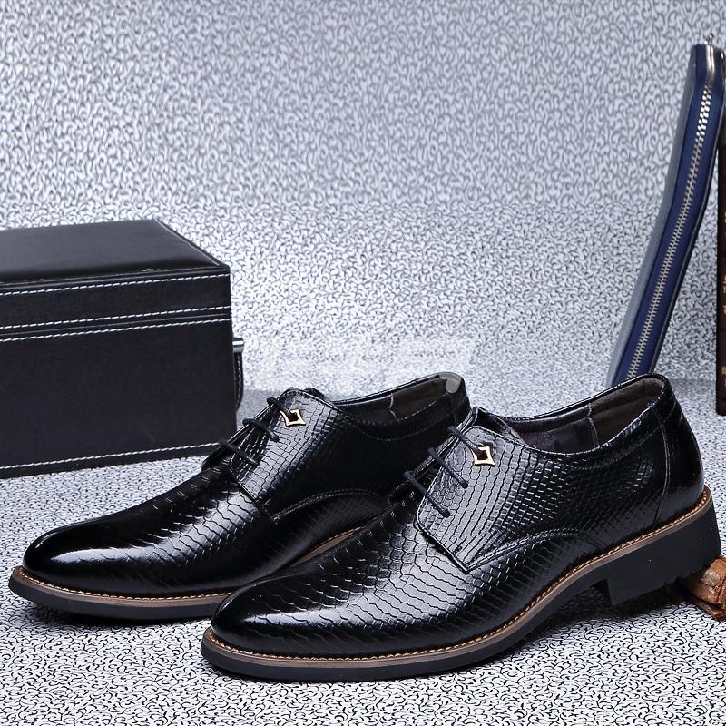 红尾鹊秋季新款男正装皮鞋真皮蛇皮纹男士休闲鞋系带商务男鞋5816